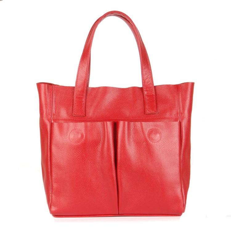 Червона шкіряна сумка українського виробництва BagTop 10cee034c9389